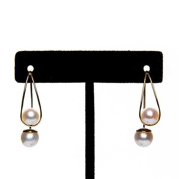Double Pearl Loop Earring
