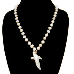 Long Leather Pearl Necklace