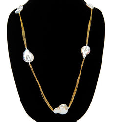 Long Chain Pearl Necklace