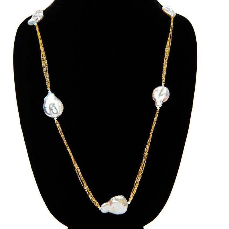 Linton Jewelry Long Chain Pearl Necklace