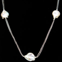 Linton Jewelry Long Chain Pearl Necklace Sterling Silver