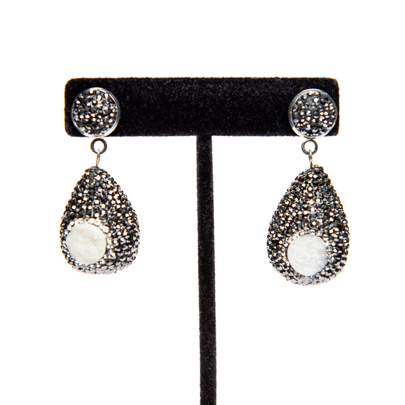 Pave Earrings with Pearls