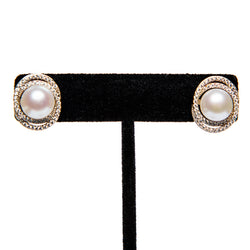 Crystal Circled Pearl Earring