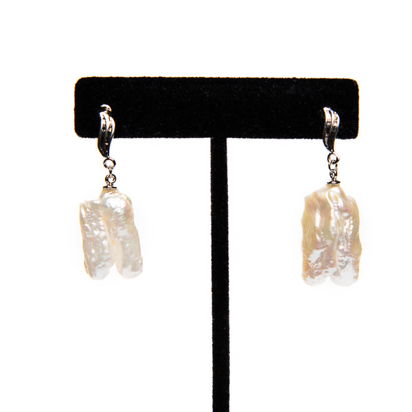 Champagne & White Pearl Drop Earrings
