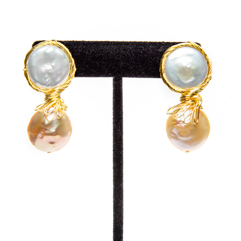 Wrapped Double Pearl Earrings