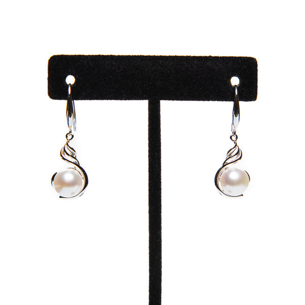 Pearl Drop Scroll Earrings