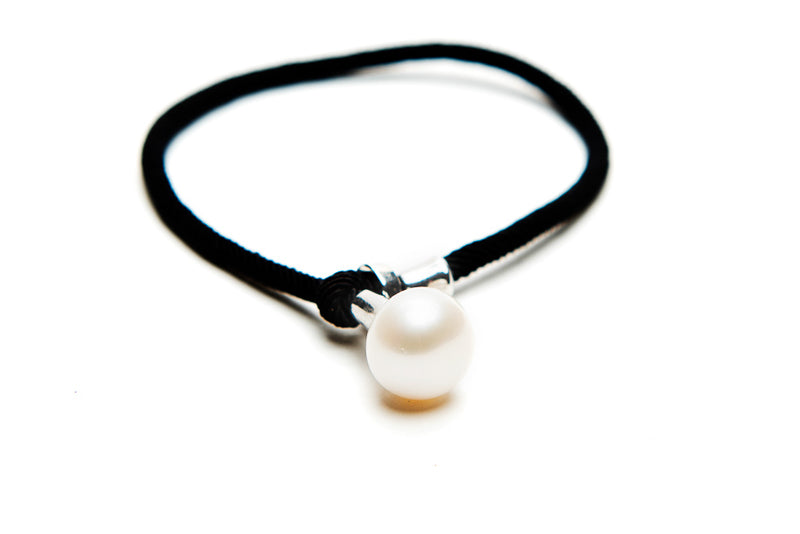 Black Leather Pearl Bracelet