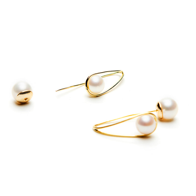 Linton Jewelry 18k Gold Double Pearl Earring