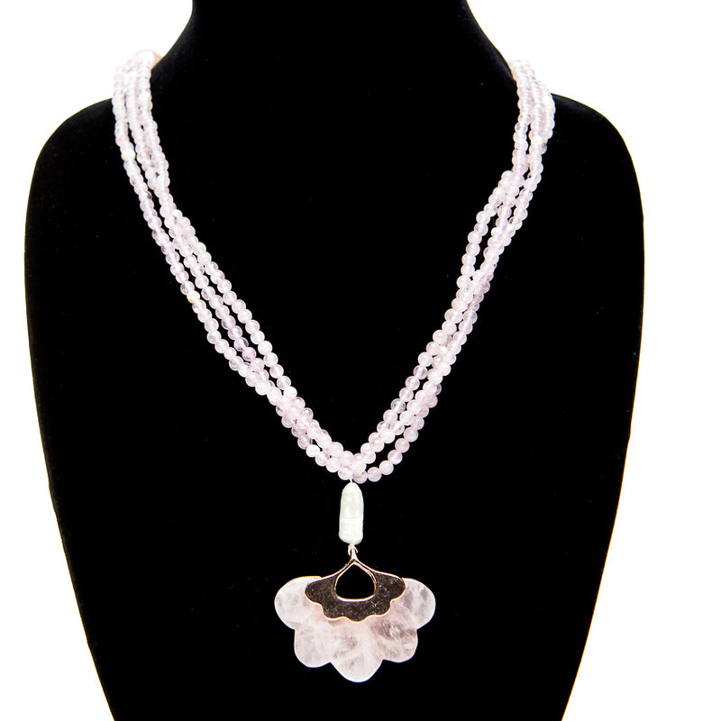 Rose Quartz Medallion Necklace