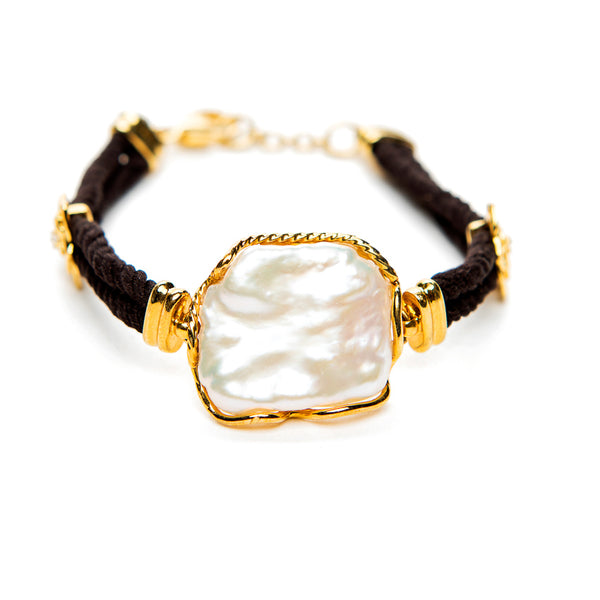 Large Pearl Leather Bracelet