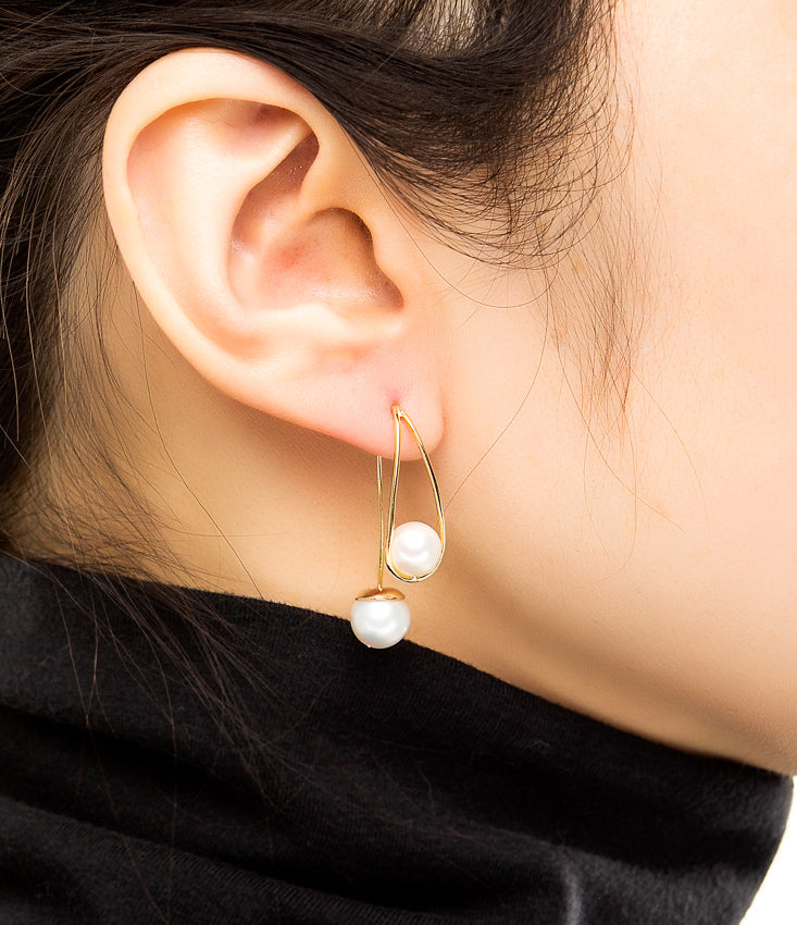 18k Gold Double Pearl Earring
