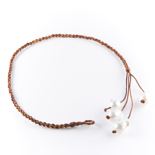 Braided Leather Pearl Necklace