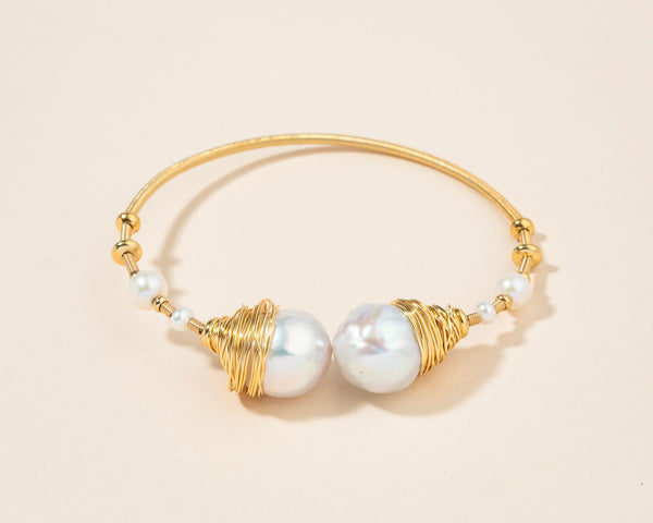 Adjustable Gold Wrapped Pearl Bracelet