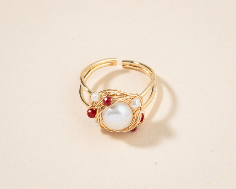 Adjustable Gold Wrapping Pearl Ring