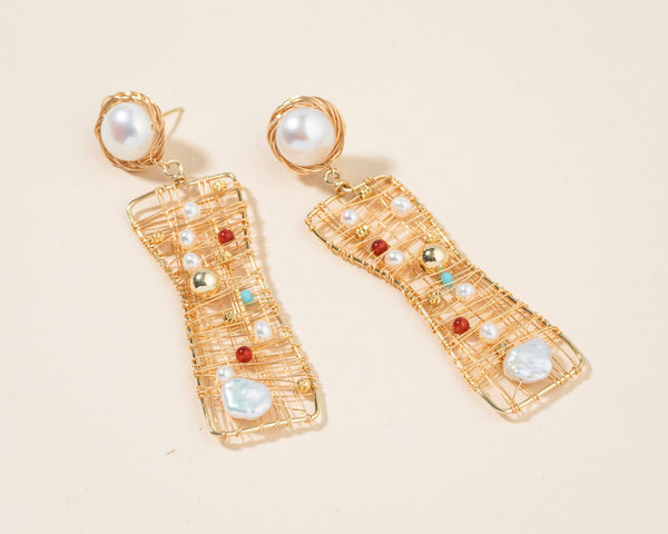 Gold Pearl Colorful Drop Earrings