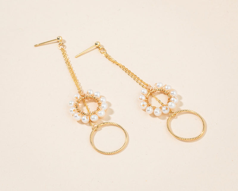 Gold Double Rings Dangle Pearl Earrings