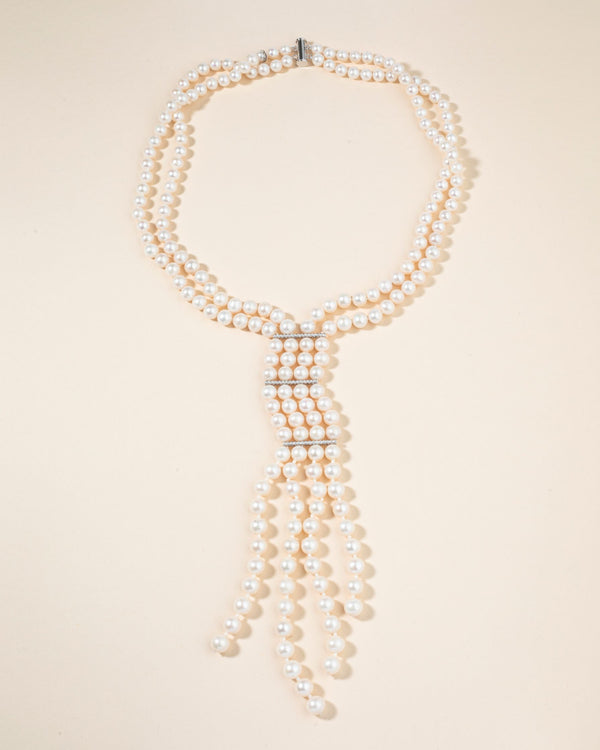 Double Strand Pearl Necklace with Crystal