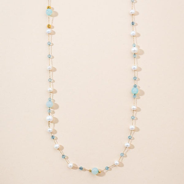 Linton Jewelry Aquamarine and Pearls Necklace