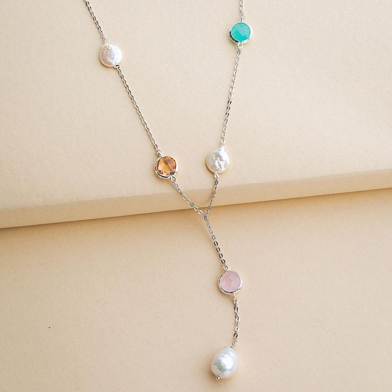 Linton Jewelry Gemstones and Pearls Necklace Sterling Silver