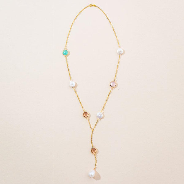 Linton Jewelry Gemstones and Pearl Necklace Yellow Gold