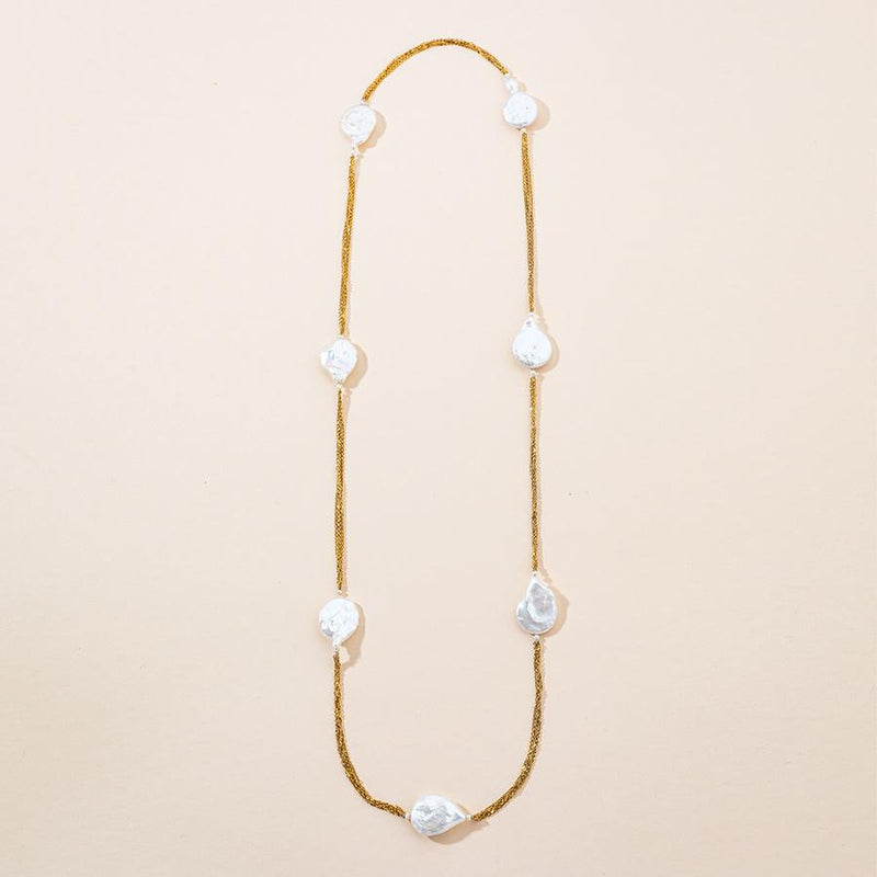 Linton Jewelry Long Chain Baroque Pearl Necklace Yellow Gold