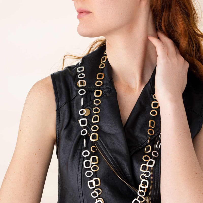 Linton Jewelry Long T-Shirt Necklace Golden and Silver