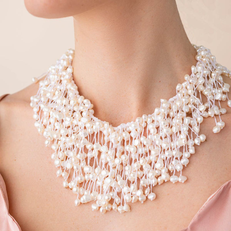 Linton Jewelry Multi Pearl Collar Necklace