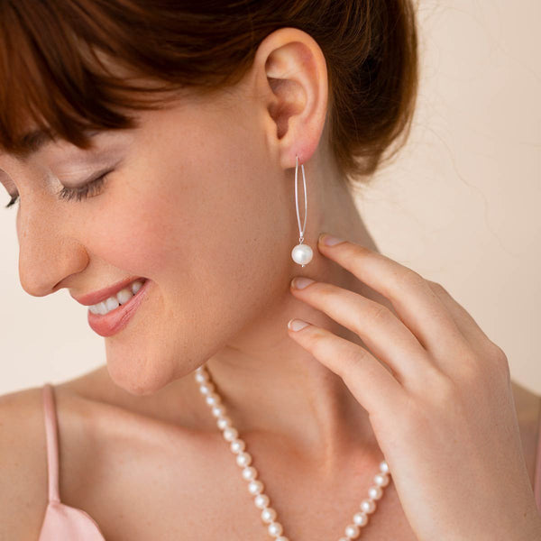 Linton Jewelry Silver Drop Pearl Earrings