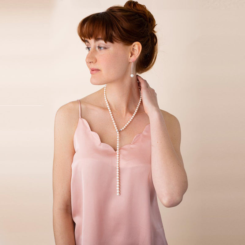 Linton Jewelry Adjustable Single Strand Graduated Pearl Lariat