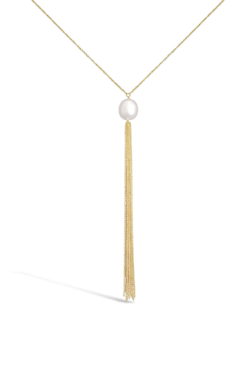 Linton Jewelry Single Pearl Chain Tassel Necklace Yellow Gold