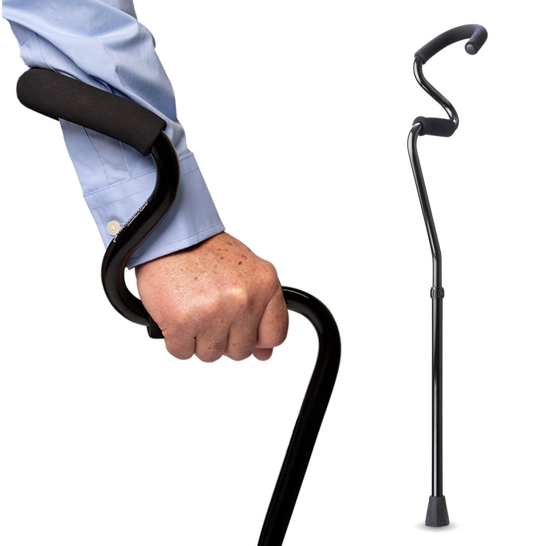 Black StrongArm Comfort Cane Walking Cane
