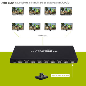 XOLORspace 8S181 1x8 HDMI Splitter 4K 60HZ 4:4:4 HDR HDCP 2.2 HDMI 2.0b with downscaler