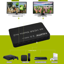 XOLORspace 41421 HDMI 2.0b 4x2 matrix Switcher 4 in 2 out with audio extractor optical and 3.5mm audio out