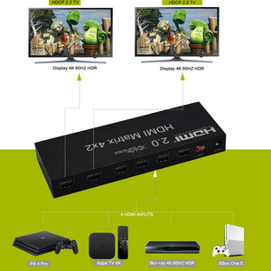 XOLORspace 42421C HDMI 2.0b 4x2 matrix Switcher 4 in 2 out with audio extractor optical and 3.5mm audio out