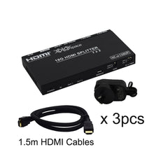 XOLORspace 66121 1x2 HDMI 2.0 4K 60HZ HDR Splitter with downscaler and Audio Extract (3pcs HDMI cables PACK)