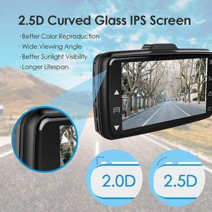 AZDOME Dash Cam Dashboard Car Camera 1080P FHD DVR Car Driving Recorder Dash Camera 3 inch 2.5D IPS Screen 170° Wide Angle, G Sensor, Parking Monitor, Loop Recording, Motion Detection