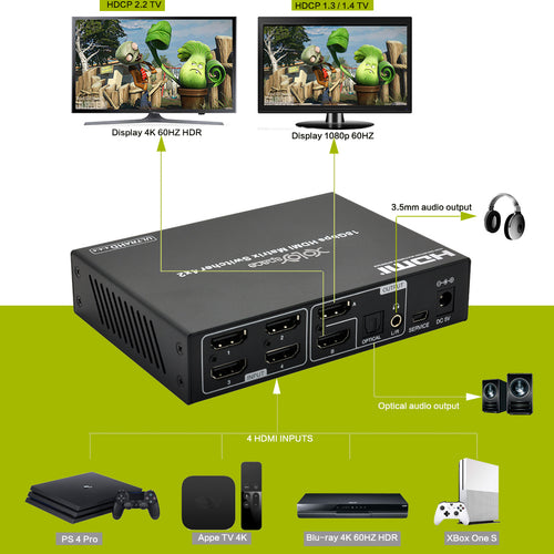 XOLORspace 46421 4X2 HDMI True Matrix switcher 4K 60HZ HDR with downscaler and audio extractor HDCP 2.2