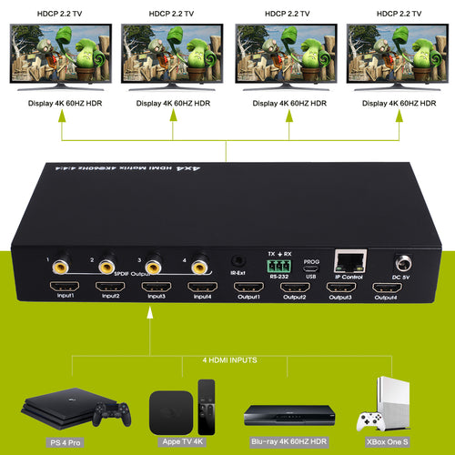 XOLORspace 46441mini 4x4 HDMI Real Matrix switcher supports 4K@60hz YUV4:4:4 18Gbps HDR with audio extractor optical audio