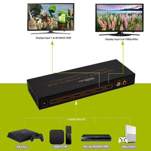 XOLORspace 43421 4x2 4K 60HZ HDR HDMI real matrix switcher no downscaler, w/ optical out