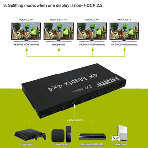XOLORspace 41441 4x4 4K 60HZ HDR HDMI matrix switch with auto scaling 4k to 1080p