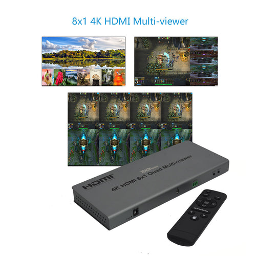 XOLORspace QV801 4K HDMI 8x1 Multi-viewer 8 HDMI inputs 1 HDMI output 9 modes of video segmentation (Gift: 2M HDMI cables)