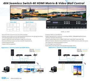 XOLORspace SL-MX46 4X4 4K HDMI Seamless Matrix with 2X2 videowall and Multiviewer
