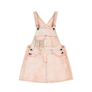Peach Bleached Overall Dress