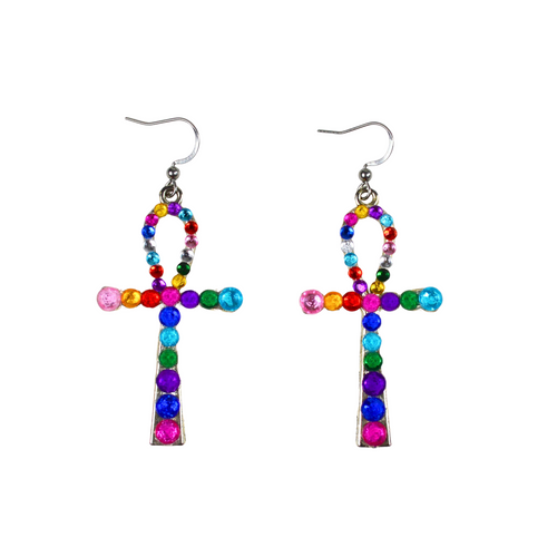 Bedazzled Ankh Earrings
