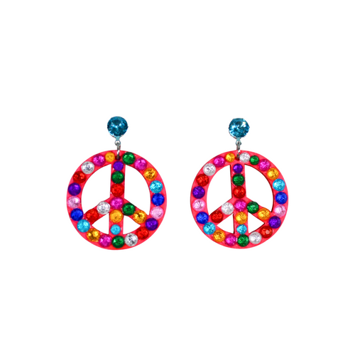 Bedazzled Peace Sign Earrings