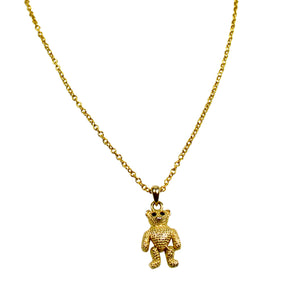 Golden Bear Pendant Necklace