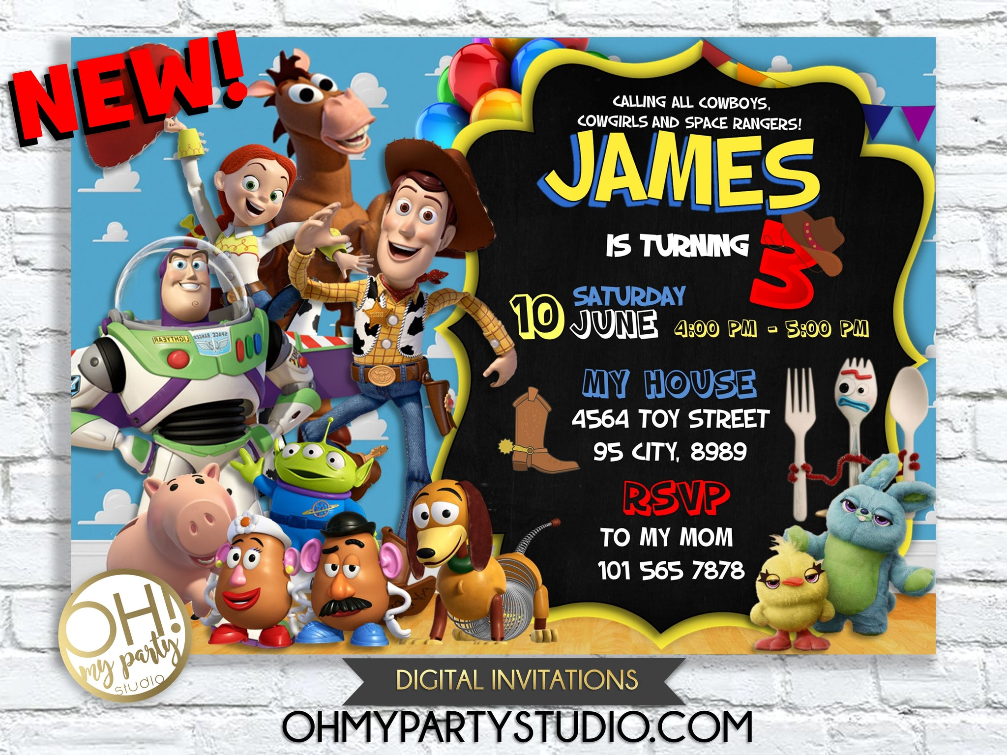 TOY STORY 4 BIRTHDAY INVITATION, TOY STORY BIRTHDAY INVITATION, TOY STORY PARTY, TOY STORY BIRTHDAY, TOY STORY BIRTHDAY PARTY