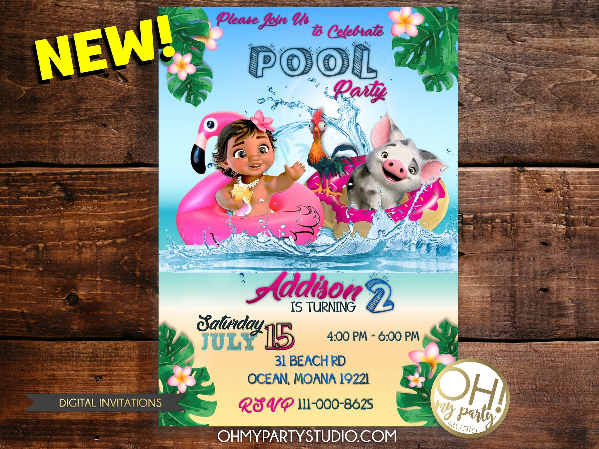 picture regarding Moana Printable Invitations referred to as Youngster MOANA BIRTHDAY Occasion INVITATION
