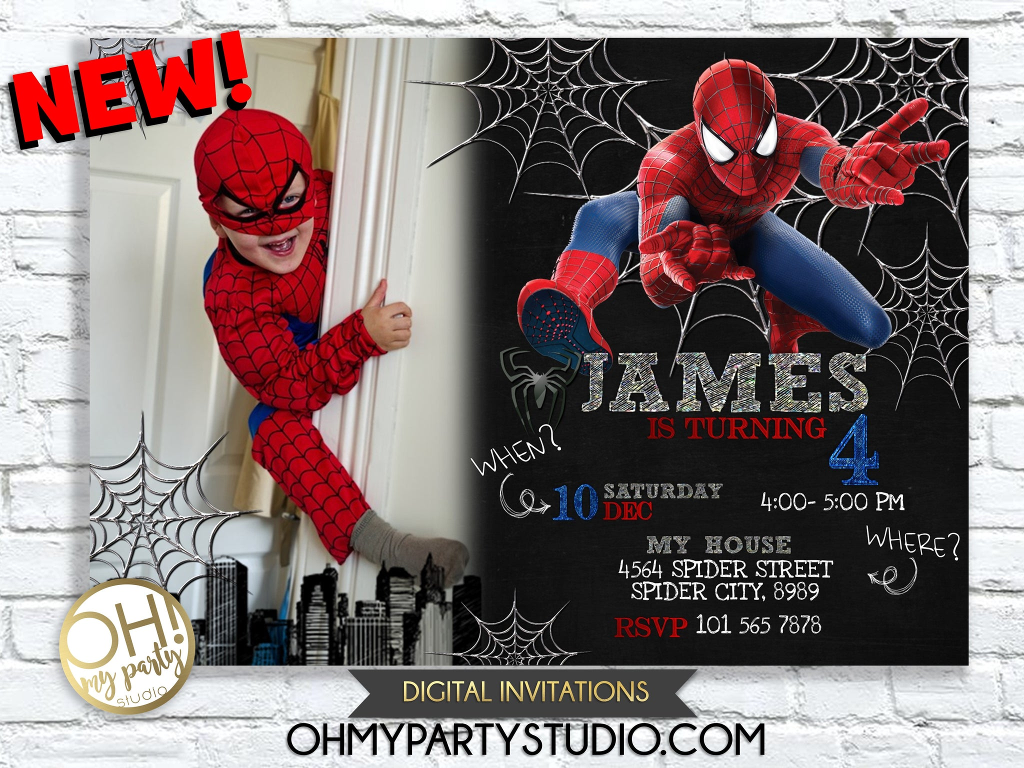 SPIDERMAN INVITATION, SPIDER-MAN INVITATION, SPIDERMAN INVITATIONS, SPIDERMAN BIRTHDAY PARTY, SPIDERMAN INVITATION DIGITAL, SPIDERMAN PRINTABLE