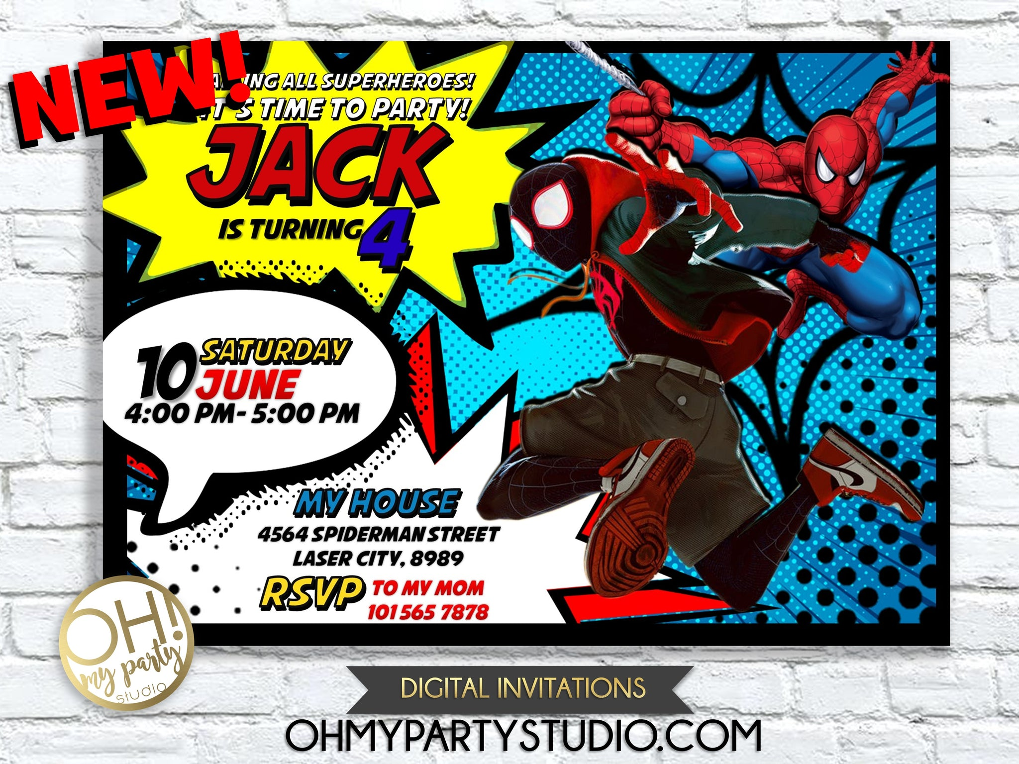 image regarding Printable Spiderman Invitations named INTO THE SPIDER VERSE BIRTHDAY INVITATION